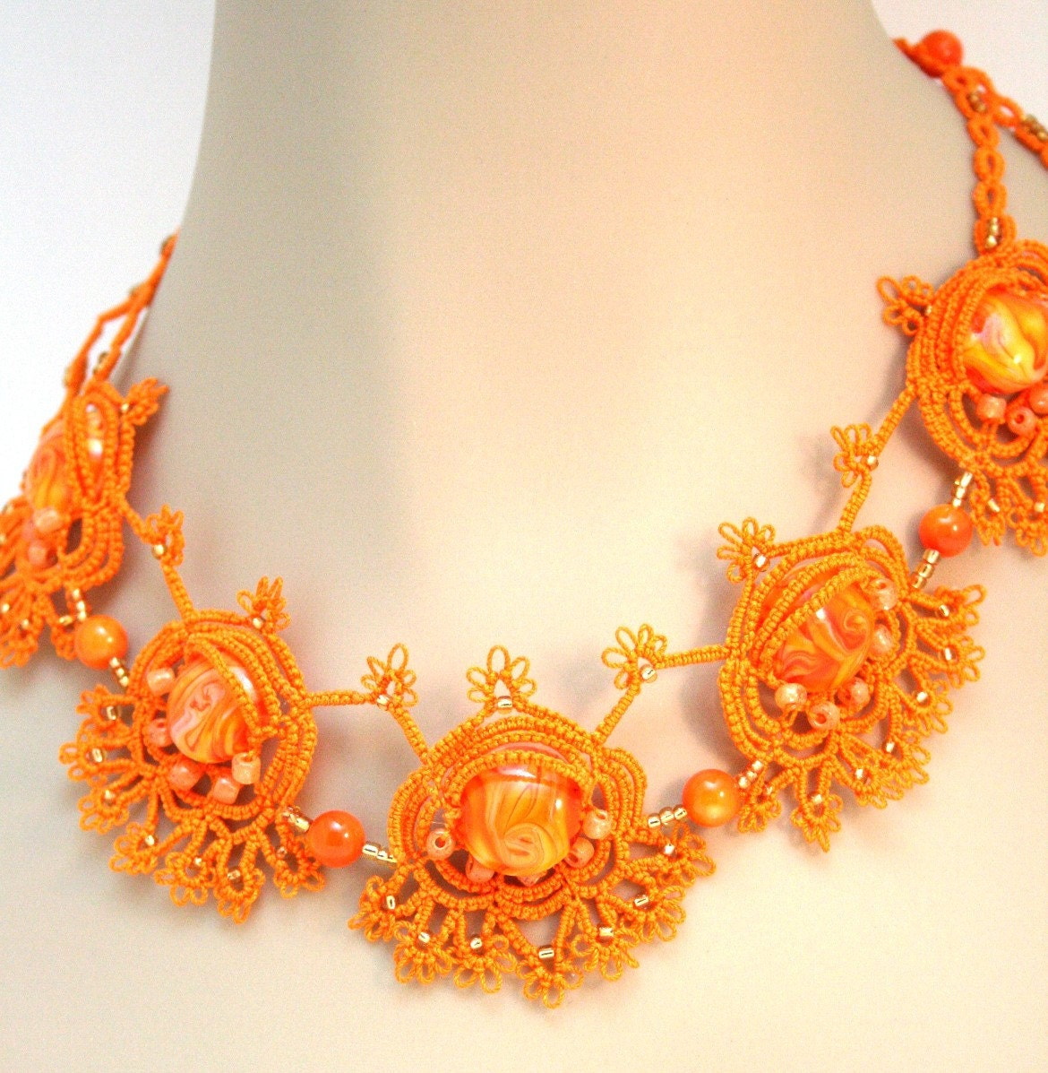 Creamsicle necklace and earrings