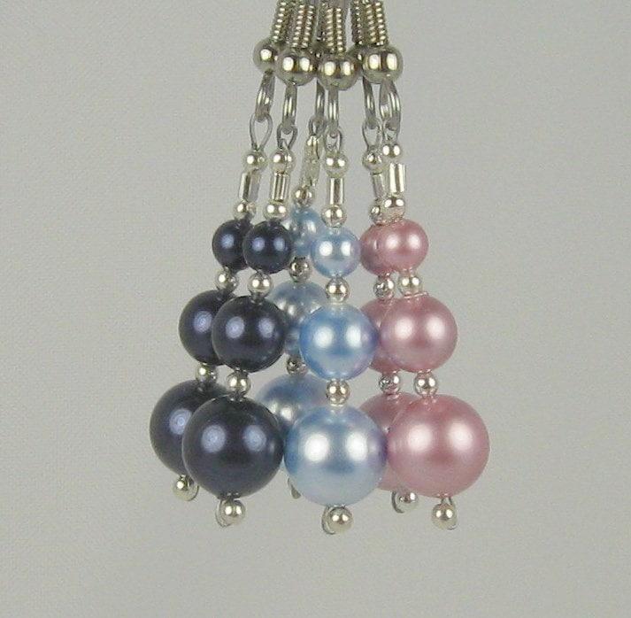 Three Pairs of Lovely Swarovski Crystal Pearl Earrings