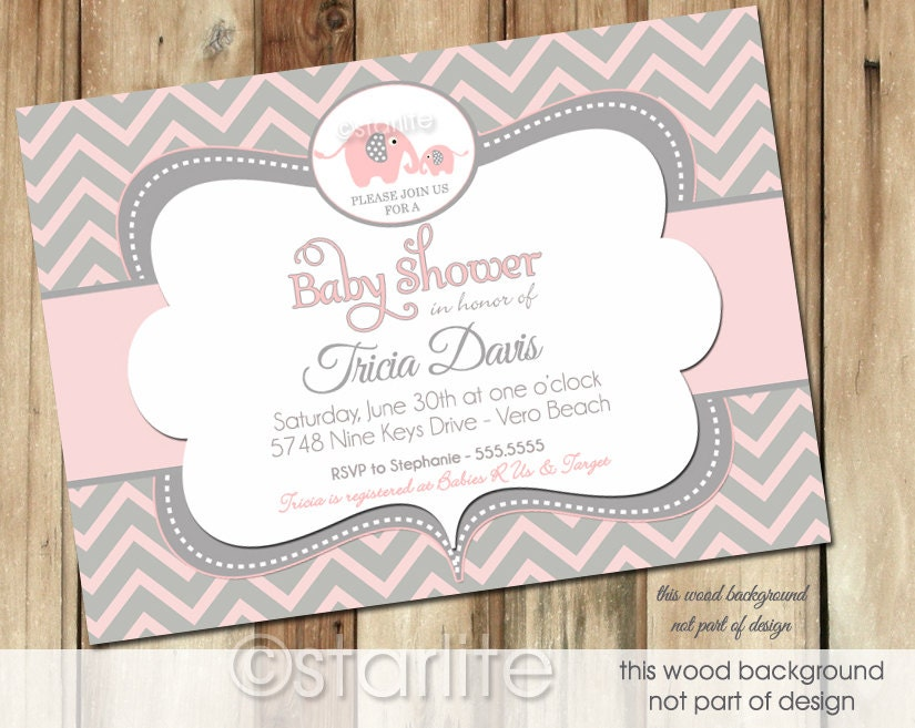 Good Starlite Printables Invitations + Stationery: Unique Elephant Baby Shower  Invitations For Girls   Pink Gray