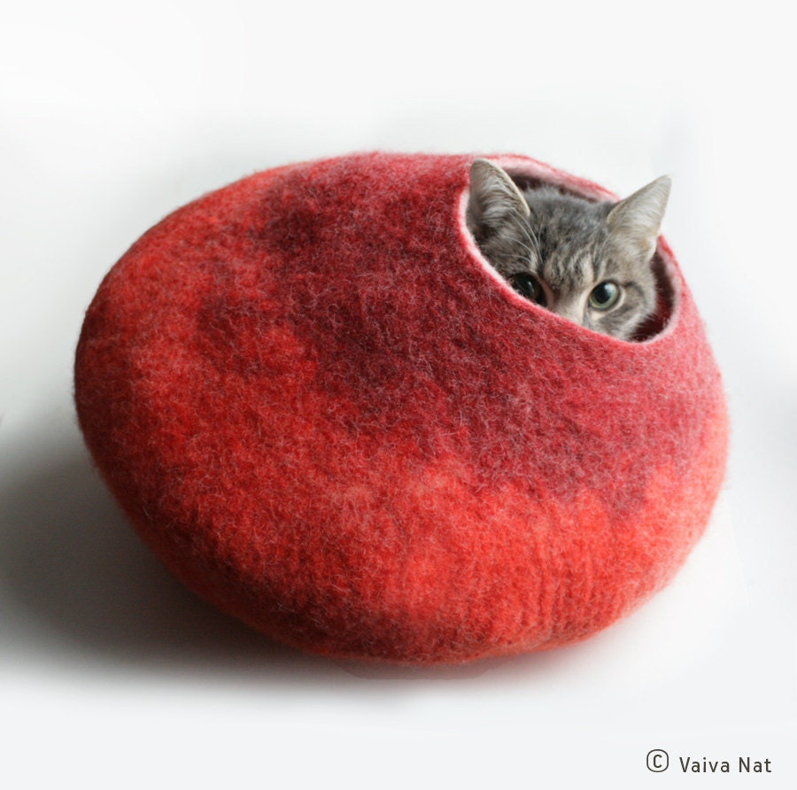 Warm Orange Red Bubble - Hand Felted Wool Cat Bed / Vessel - Crisp Contemporary Design - READY TO SHIP - vaivanat