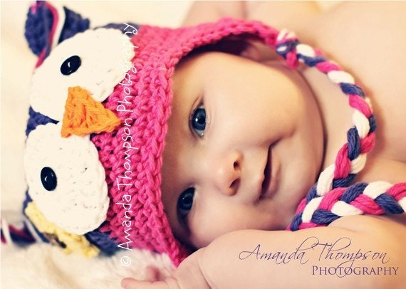 Baby Girl, Owl hat, Crochet Baby hats, Owl, Baby Girl hats, Photo Prop, MADE TO ORDER - azek2000