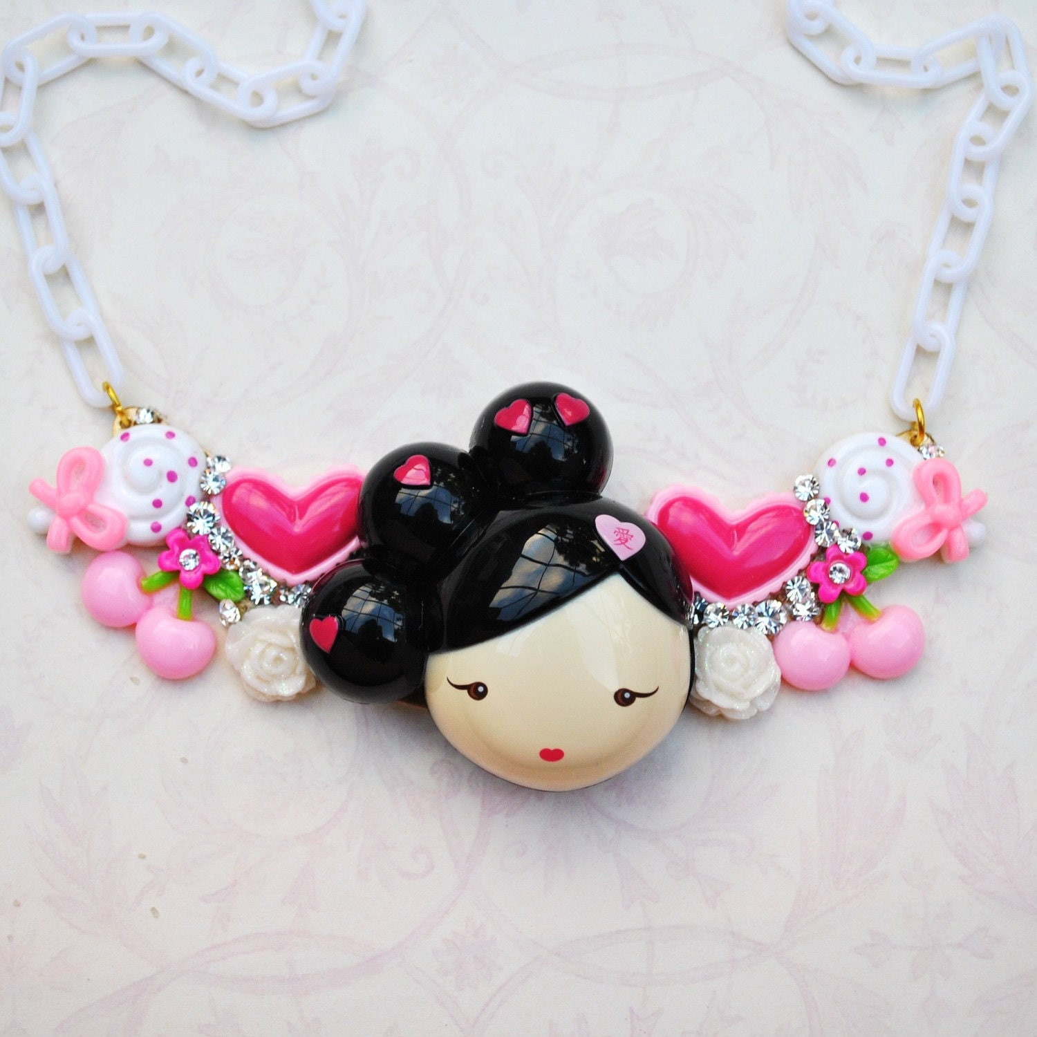 Swarovski Crystal Brunette Harajuku Girl Bib Necklace