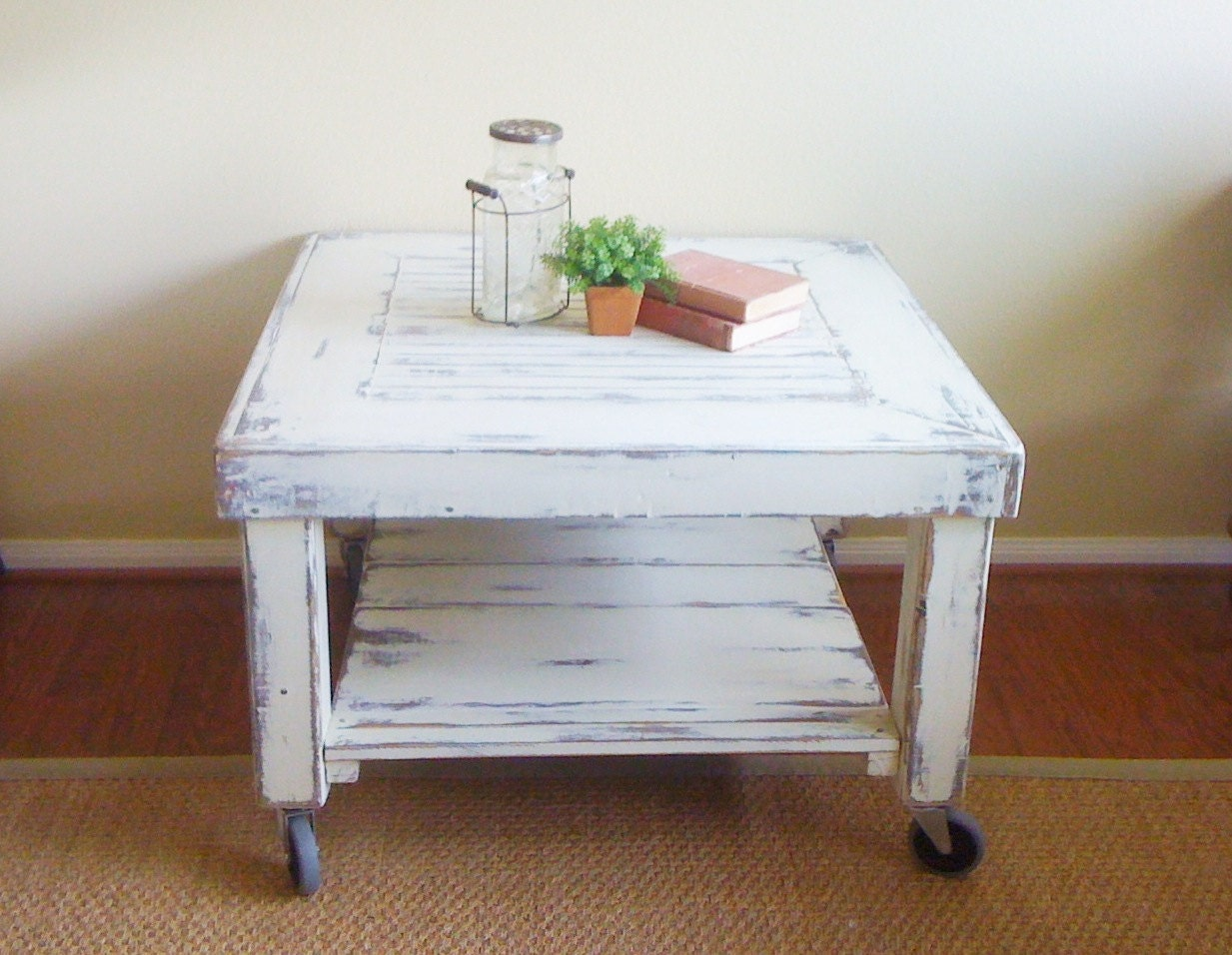 In My Bucket Industrial Shabby Chic Coffee Table On Casters