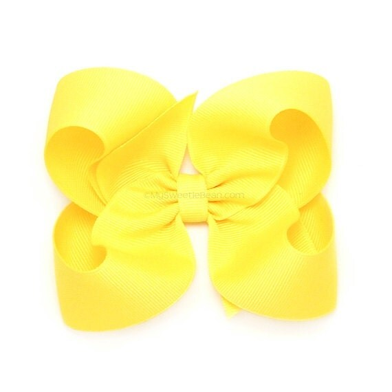 Bright Yellow Hair Bow, 4 inch Boutique Bow, Grosgrain Hairbows for ...