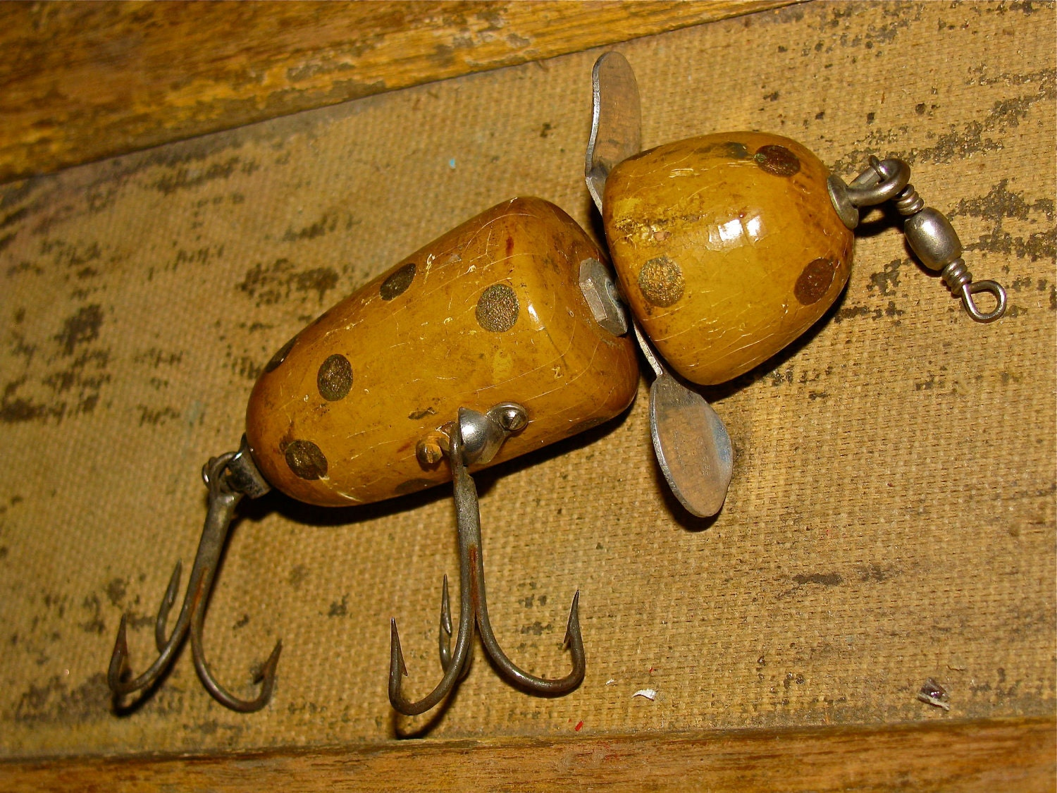 Vintage wooden pflueger globe fishing lure by downthepipelines for Antique wooden fishing lures