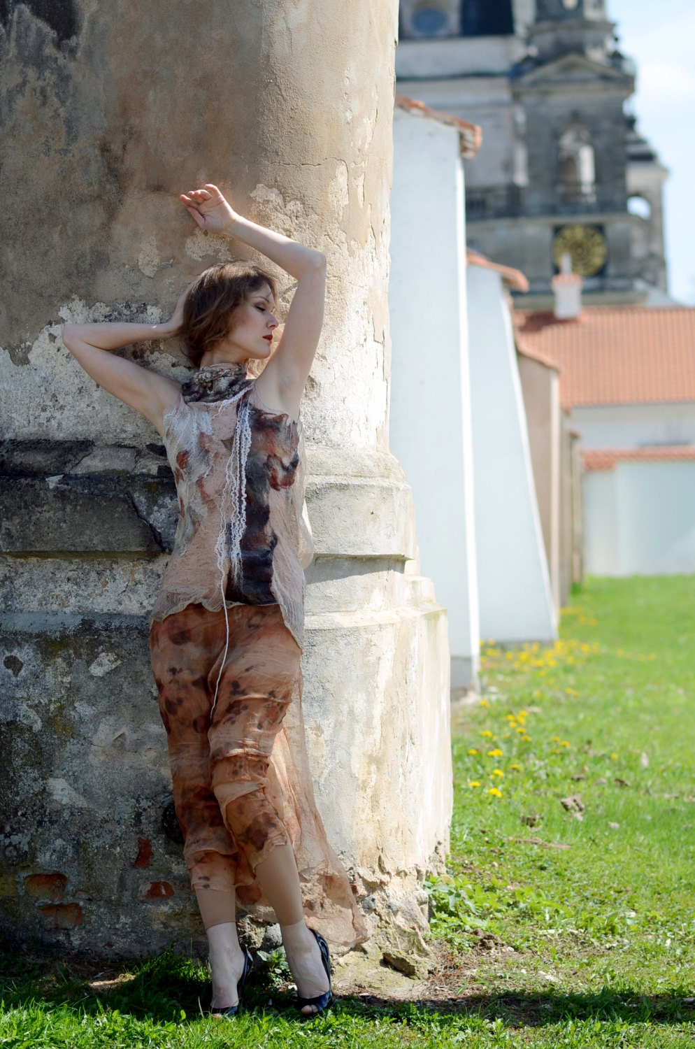 Eco fashion top blouse  Nuno felted and eco printed blouse from natural silk and wool dyed with plants OOAK - vilte