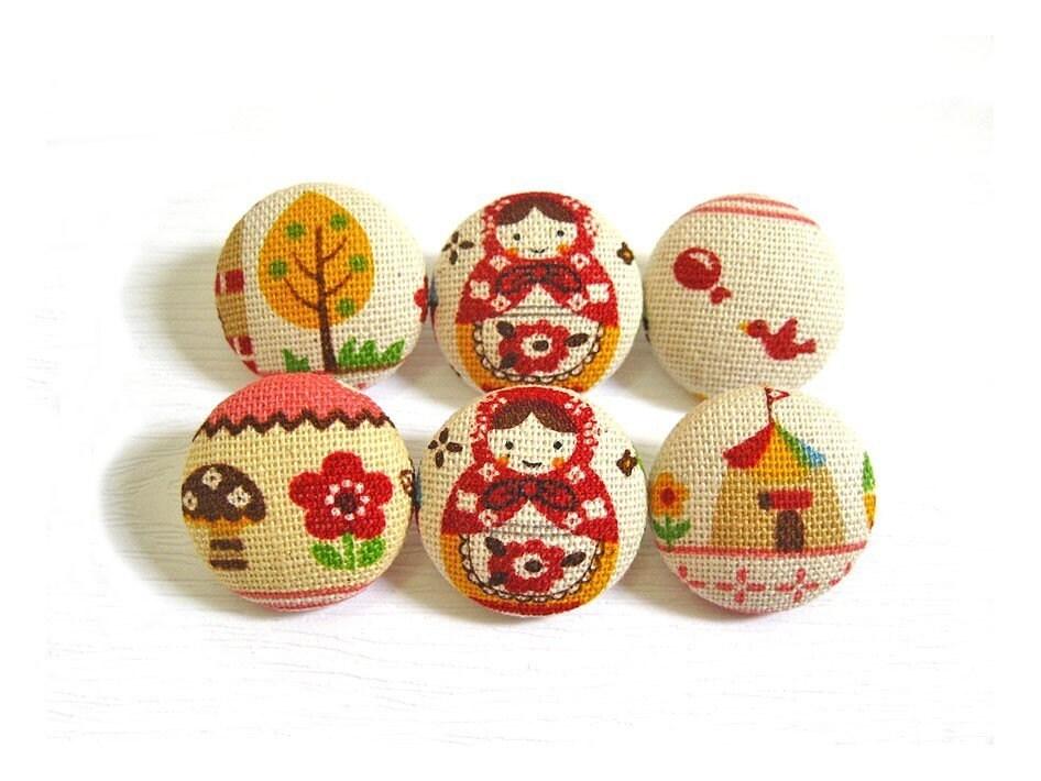 6 Средний Ткань Кнопки Set - Розовый Бабушка