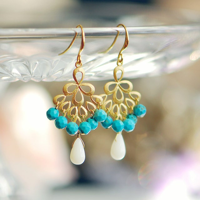 turquoise and coral chandelier earrings gold by joojooland
