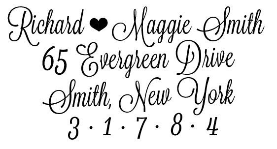 Custom Calligraphy Inspired Address Stamp perfect for wedding invites and more