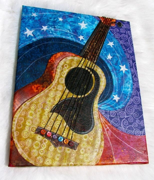 6 String - Guitar Wall Art fabric collage - NO FRAME NEEDED