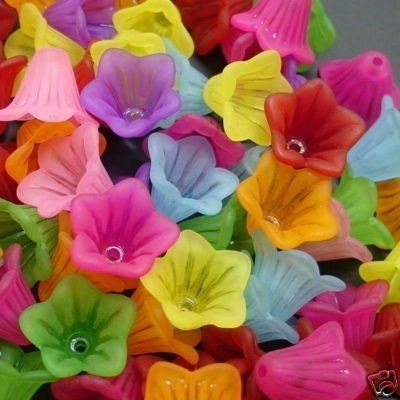 Assorted Colored Acrylic Frosted Flower Beads - 8 Flower  Beads