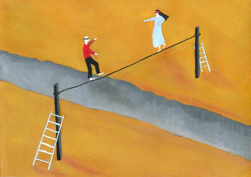 Looking for a Pefect Match - surreal illustration A4 giclee art print couple balancing on a rope ladder art for bedroom symbolic art - jokamin