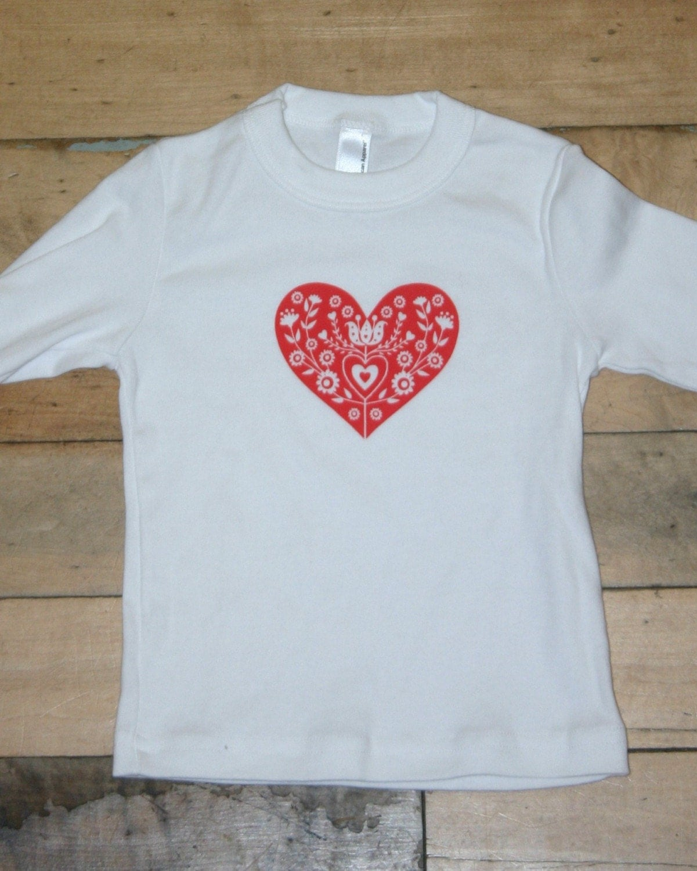 folk heart long sleeve kids t shirt (red)
