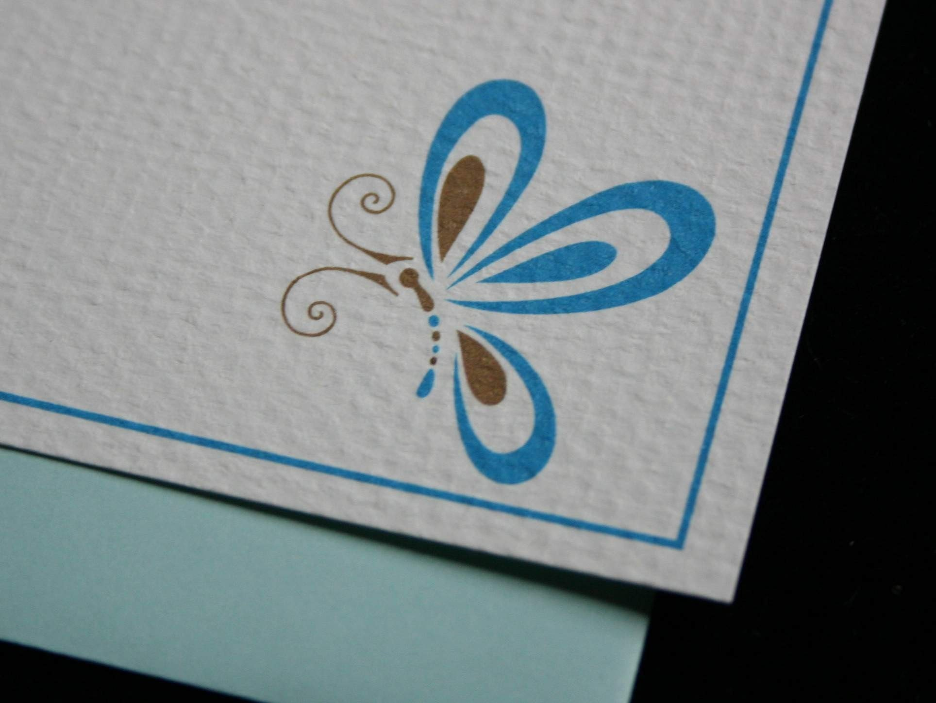 Blue and Chocolate Butterfly Notes- Set or 6 w/envelopes
