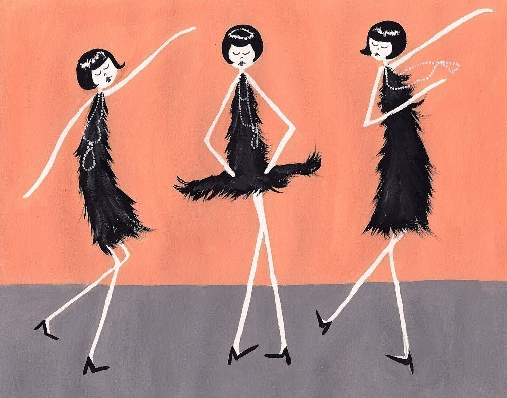 Eloise, Ramona and Clarissa dance the Charleston - 4 x 6 art print