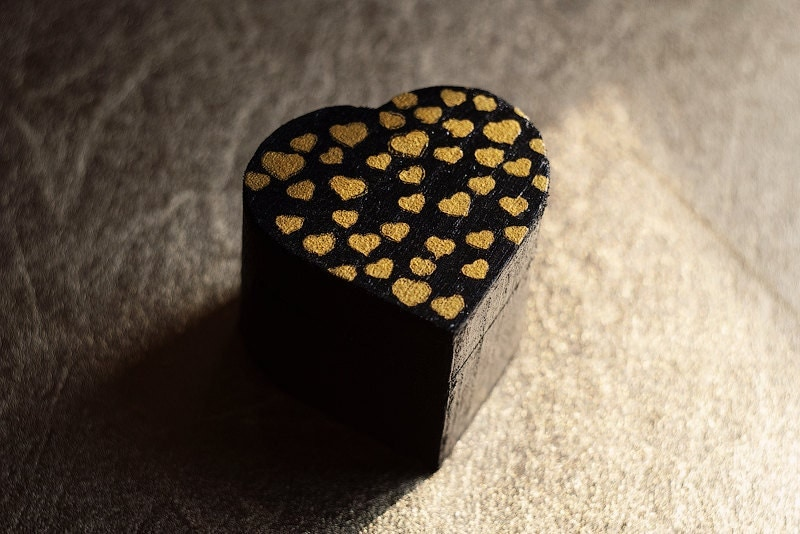 OOAK - Rustic style black heart shaped engagement ring box whith small gold hearts - black, gold, wedding box, wooden box, gift, Valentine's - MissVintageWedding