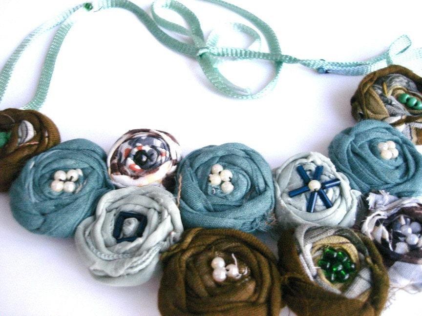 Green Grey Tones Rosette Statement Bib Necklace Rolled Fabric Flower - seragun
