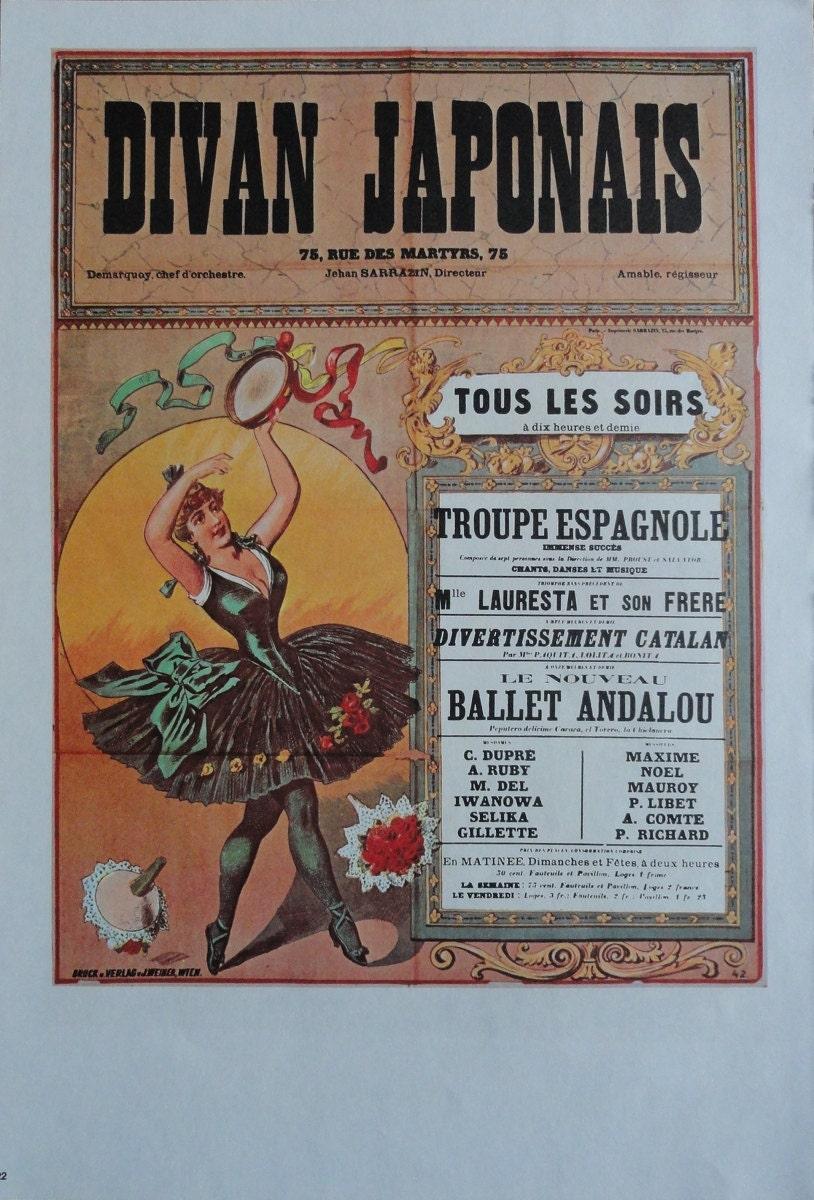 Vintage dance poster jane avril of paris france and by for Divan japonais poster value