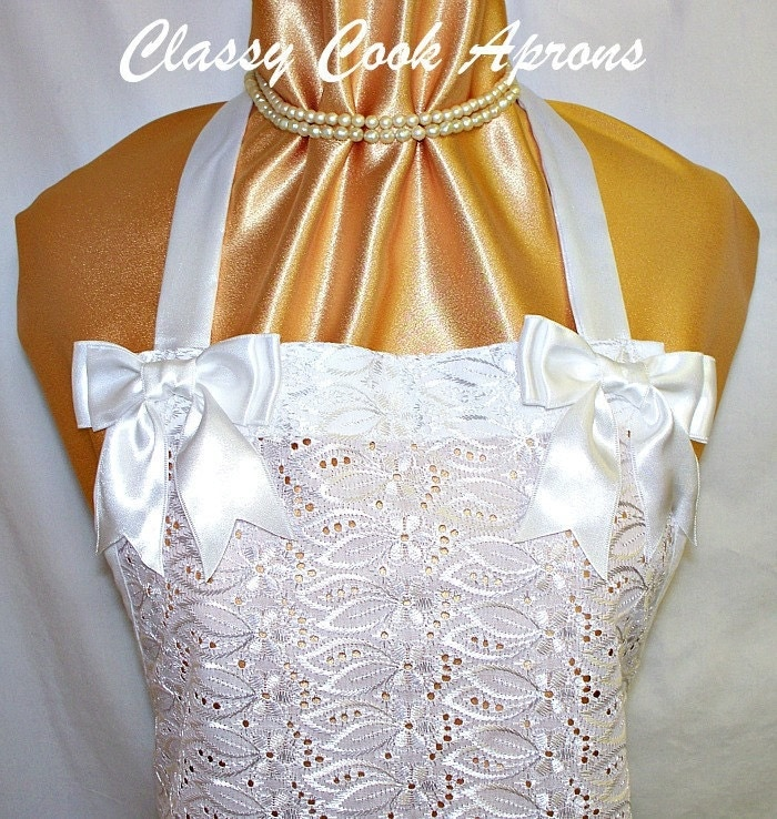 Apron Bridal White Lace & Satin Elegant Wedding Party Pretty Special Shower Unique Gift