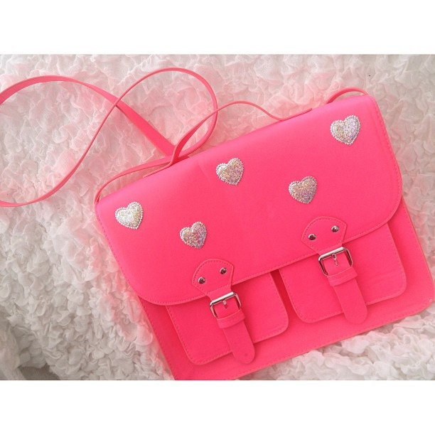 Fluorescent Neon Pink Satchel With Holographic Hearts