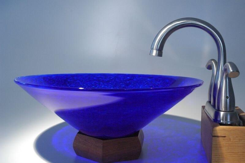 Cobalt Blue Hand Blown  Glass Vessel SInk