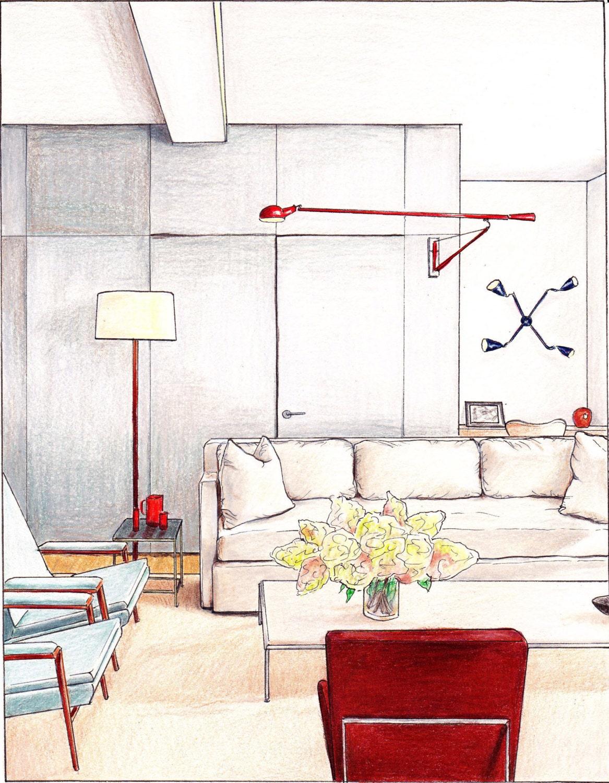 Items Similar To Gray Living Room Original Art Print