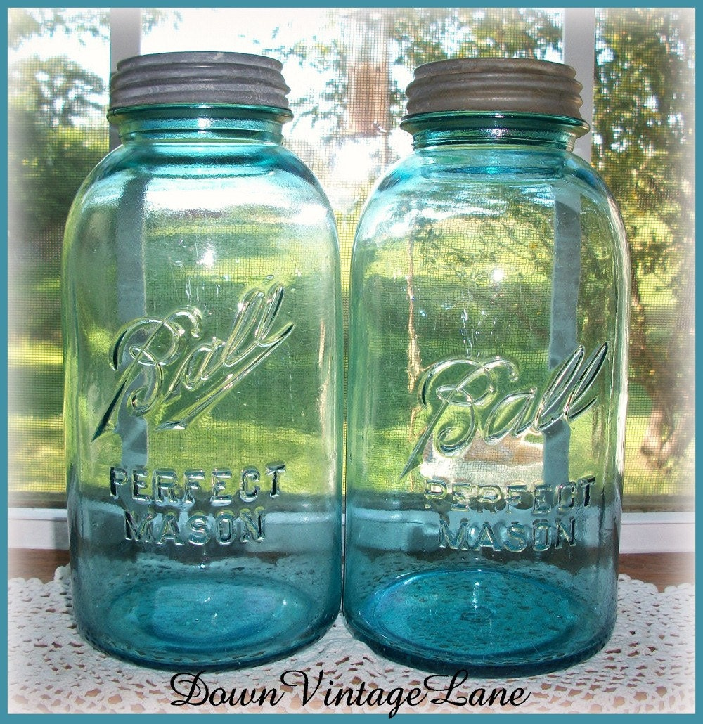 Blue Ball HALF GALLON Jars Vintage