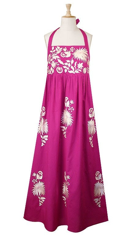 Embroidered florals maxi dress(Fuchsia)