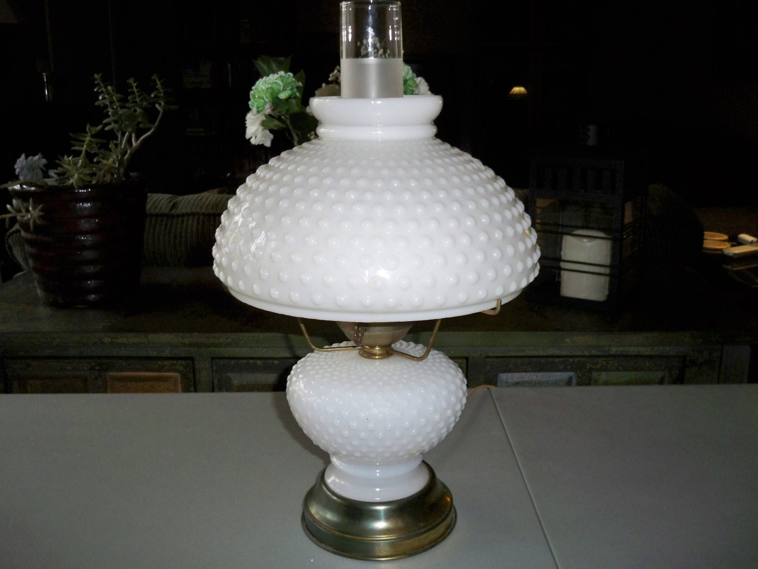 Vintage Hobnail Milk Glass Hurricane Lamp By