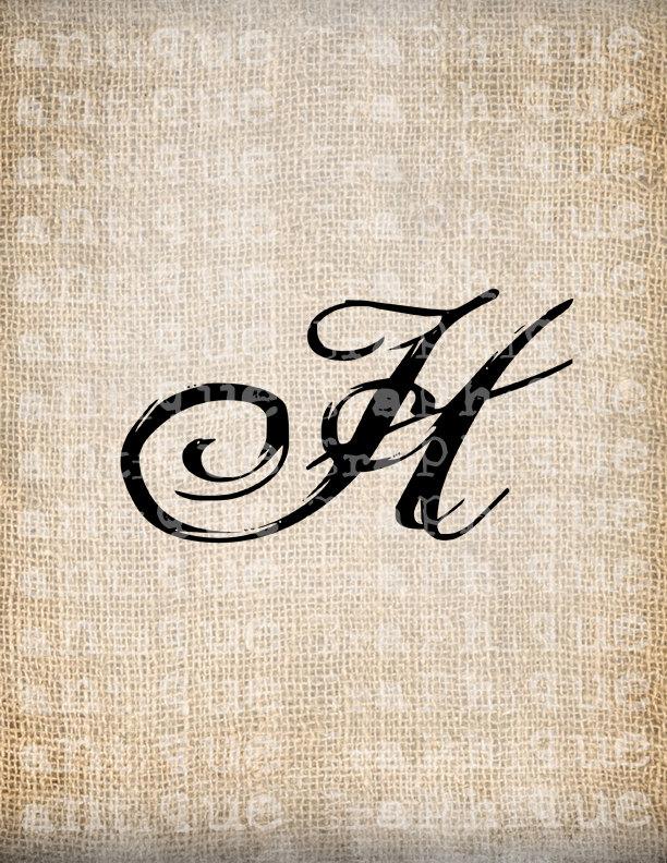 Antique Letter H Script Monogram Digital By Antiquegraphique