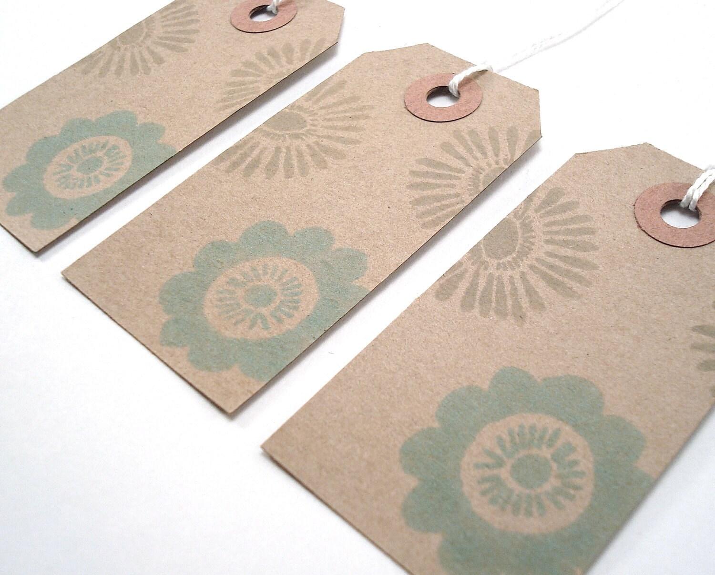Gift Tags - Hang Tags - Brown Kraft Card Stock - Handmade - Mod Flowers - Set of 10