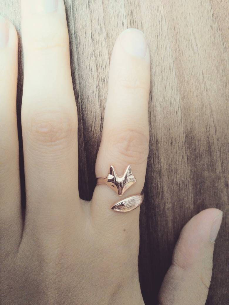 Rose gold fox ring adjustable autumn nature fashion