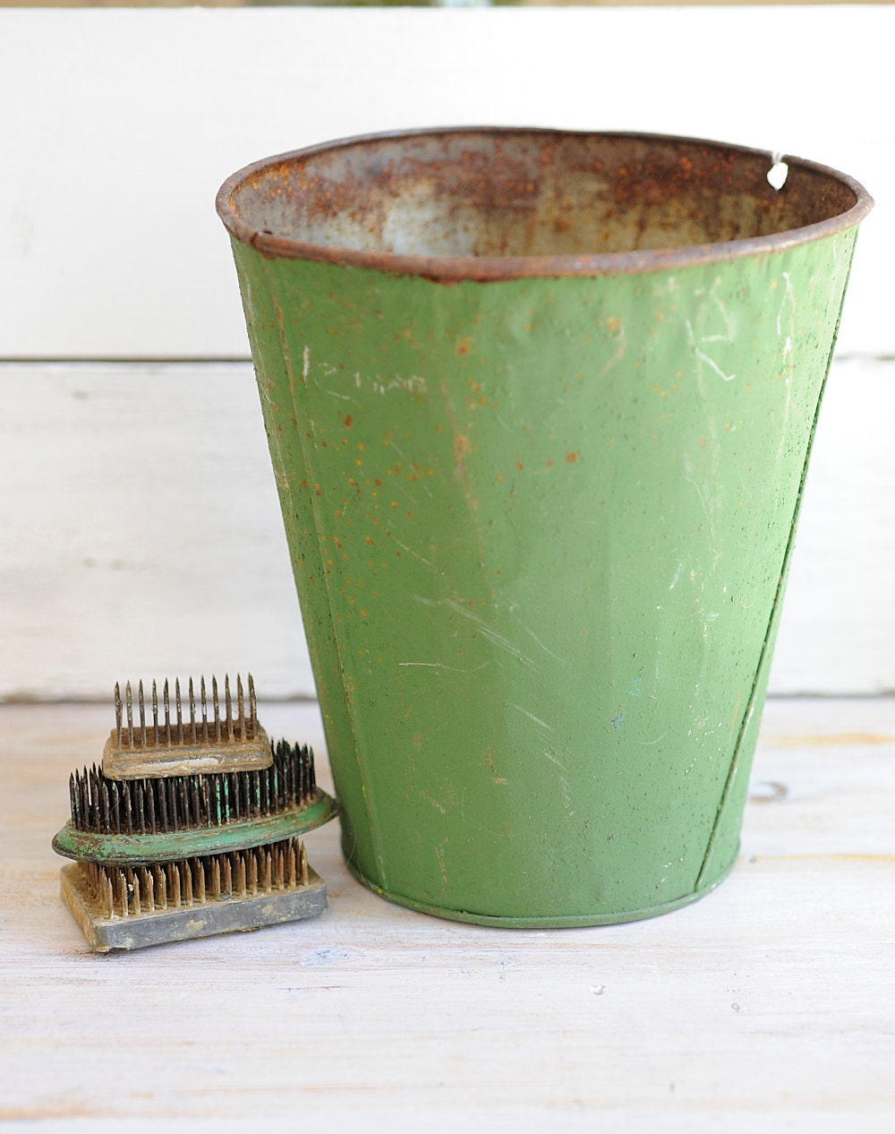 vintage, metal, green, country decor, rustic decor, maple syrup, sap bucket