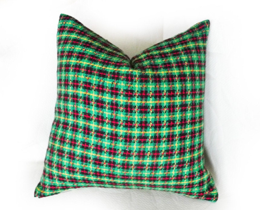 Green Plaid Throw Pillow : Green Plaid Pillows Rustic Throw Pillow Cover by PillowThrowDecor