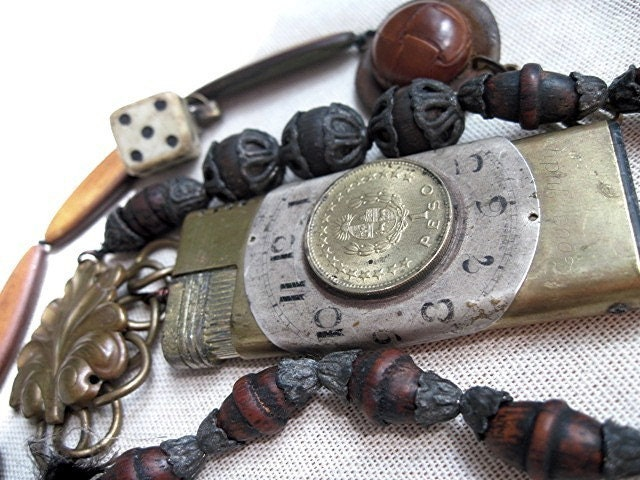 Our Lady of the Missing Button.  Assemblage Necklace.