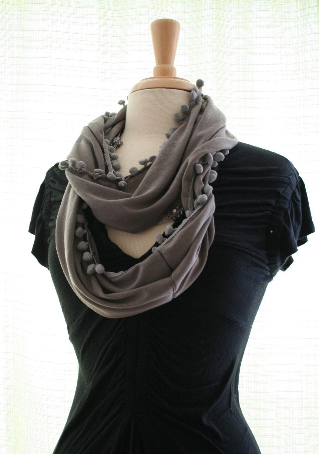SALE...Gray Cotton Jersey Loop Scarf