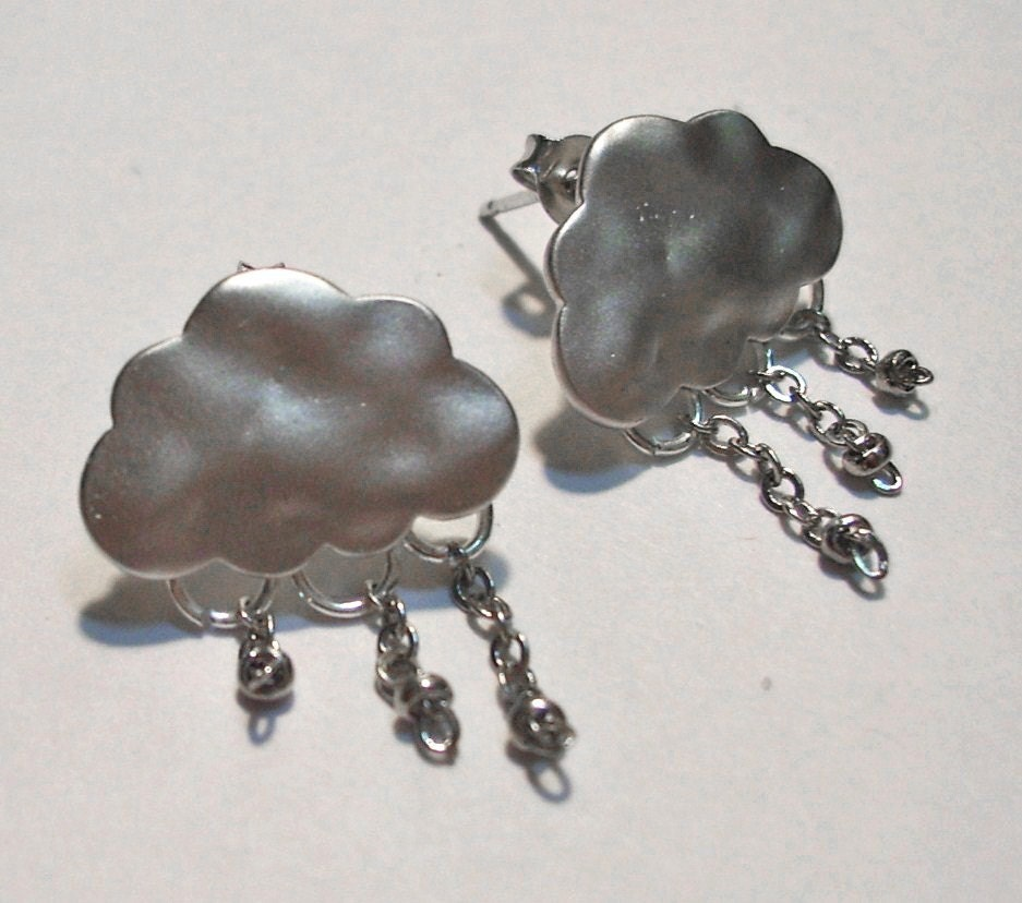 Little Storm Clouds - Handmade White Gold Earrings