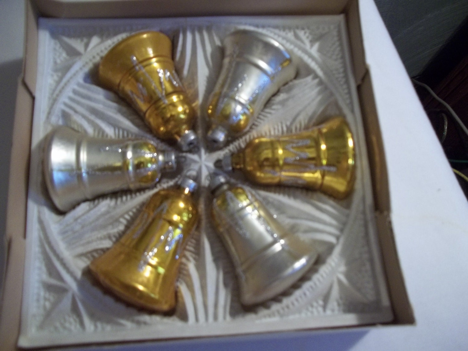 Vintage Silver & Gold Bell Ornaments, Set of 6 w/box, Shiny, Glittery, West Germany
