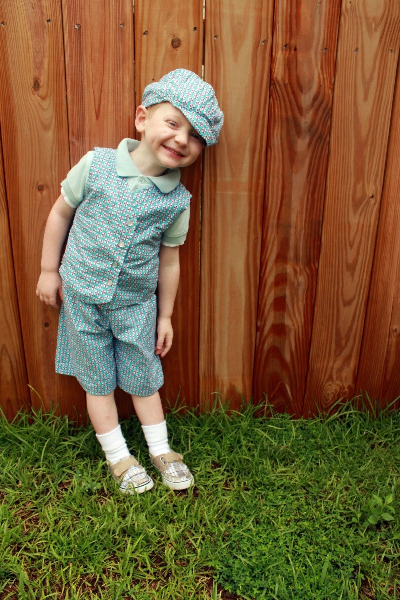 boys blue summer suit vest hat shorts blue red navy nautical 3m, 6m, 9m, 12m, 18m,  2t, 3t, 4t, 5 - SweetHomeBoutique