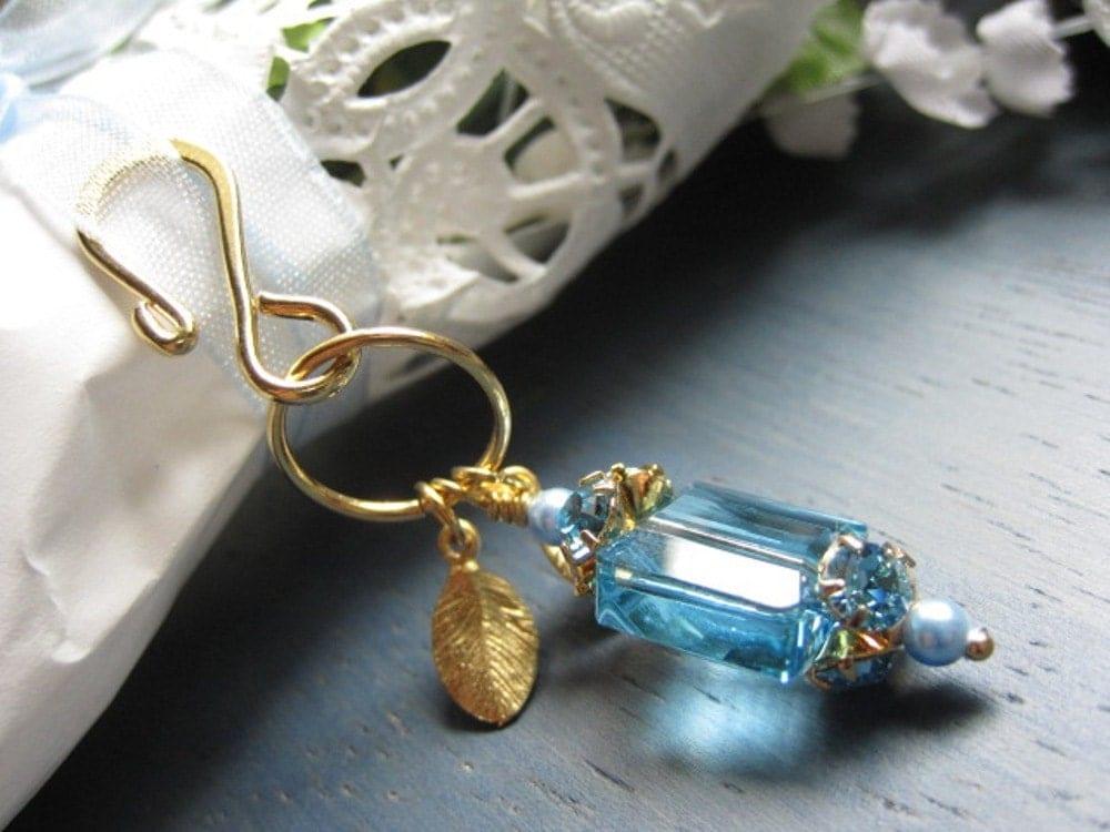 Something Blue Bridal Bouquet charm Swarovski Aquamarine Crystal with