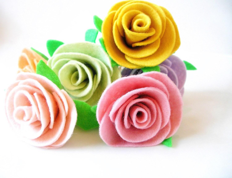 6 Felt Rose Cake Toppers