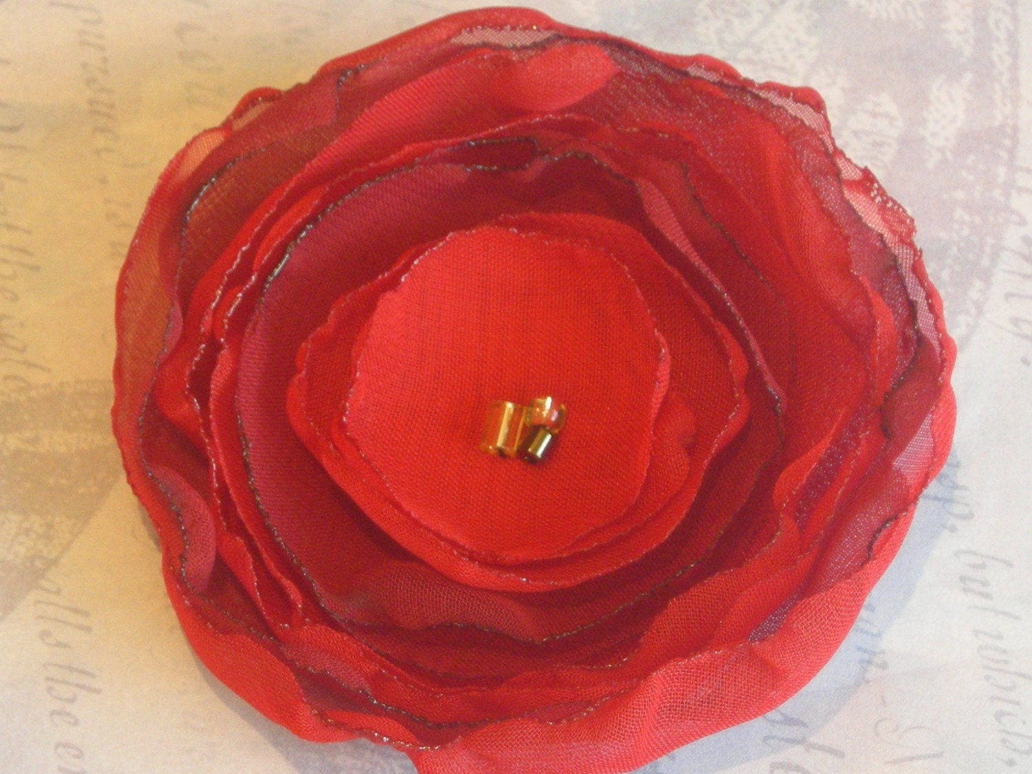 Red rose - chiffon flower clip or brooch