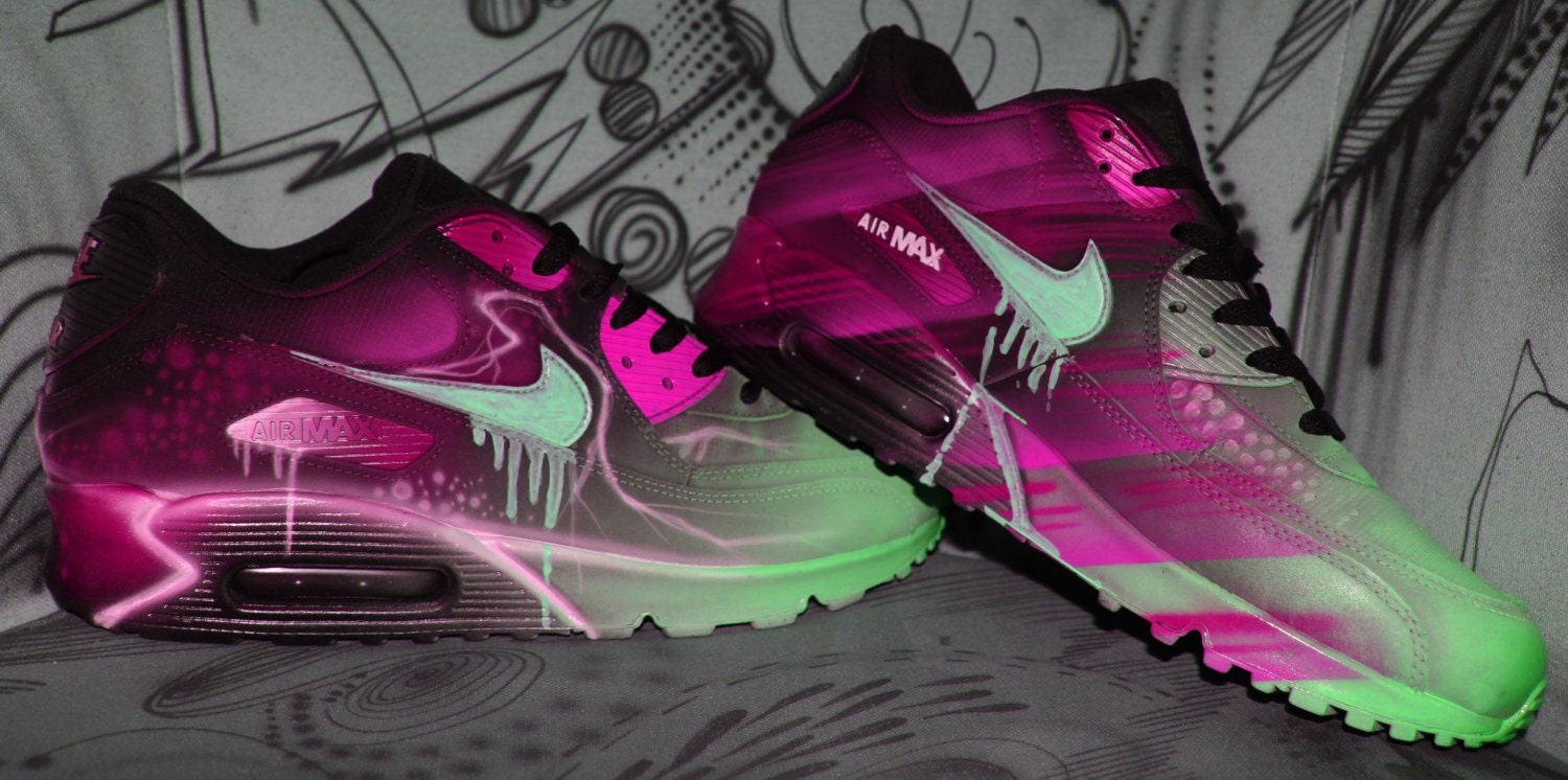 the best attitude ccbec aba85 outlet Custom Nike Air Max 90 Pink Abstract Art Style by DacCrewAirbrush