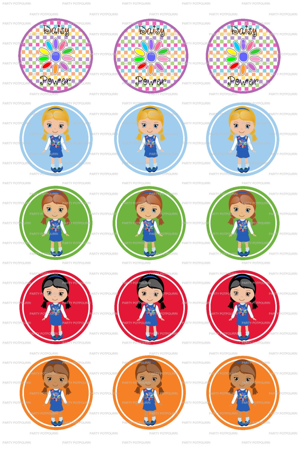 "INSTANT DOWNLOAD ~ Daisy Girl Scout s ~ 4x6 Digital File~ 1"" Bottle ..."