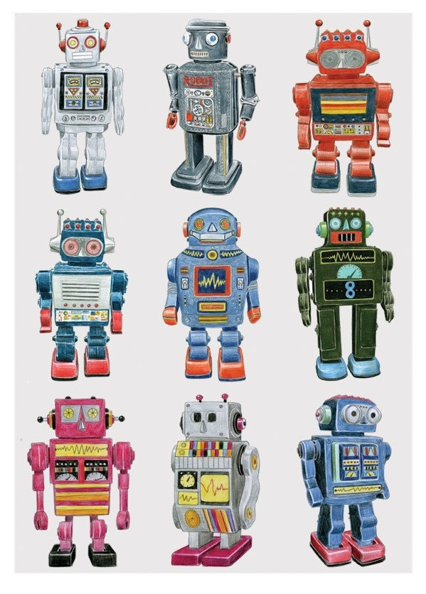 RETRO ROBOT DRAWINGS -  Limited Edition Print