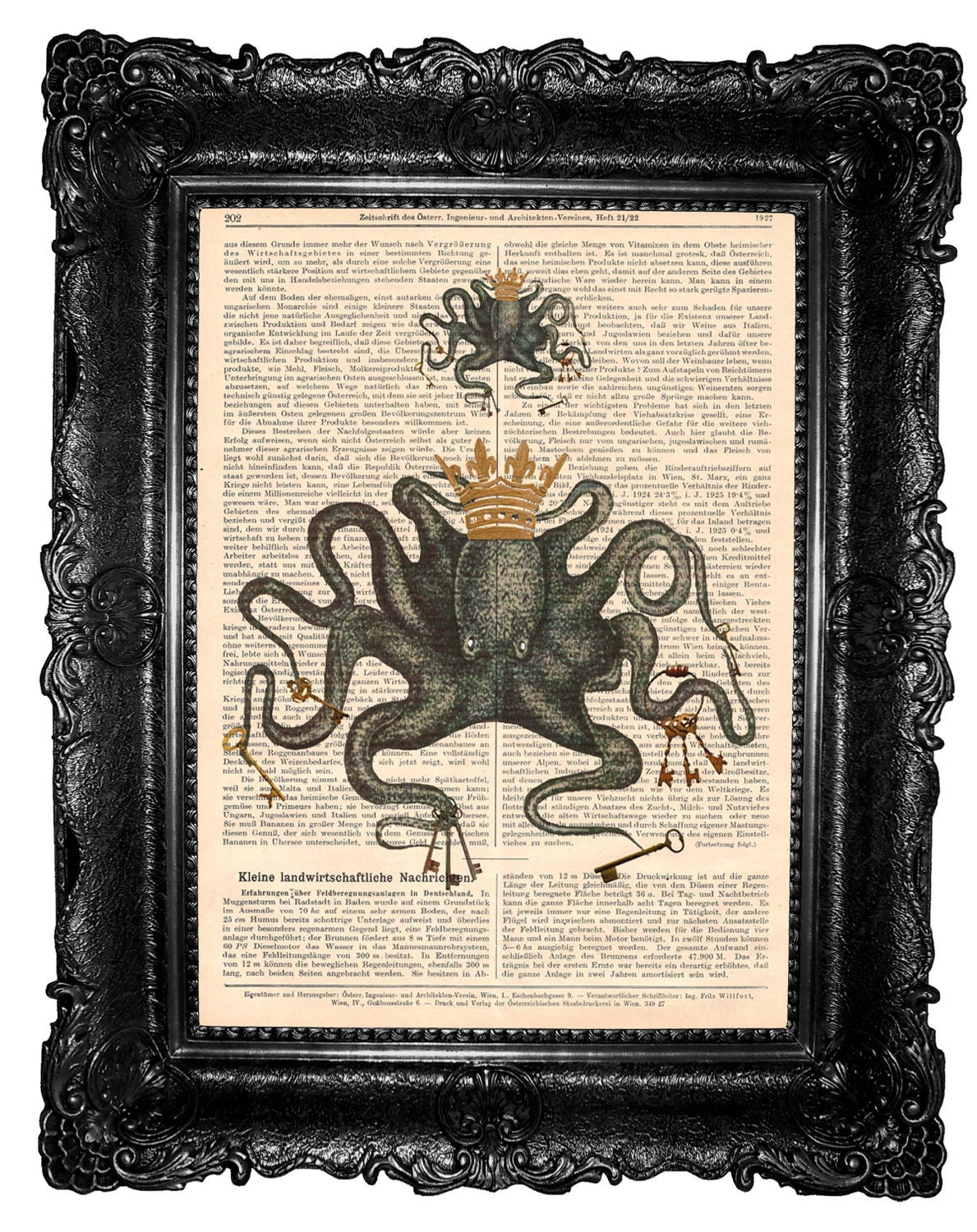 Green octopus - ORIGANAL ART WORK  octopus art  print mixed media Art Print sea dictionary print - ArtElem