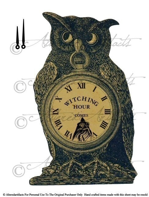Vintage Halloween Witching Hour Owl Sign Clock Pocket Watch Clipart Digital Collage Sheet Download Party