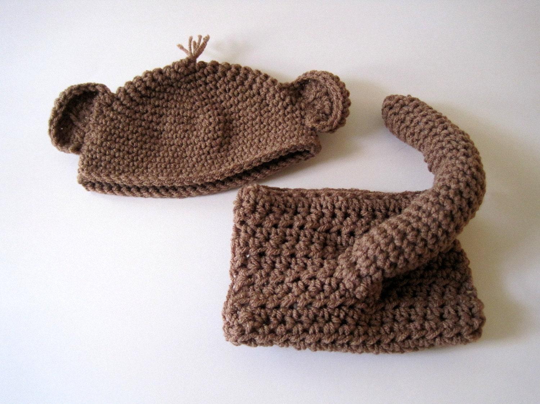 Free Crochet Pattern For Monkey Tail : Baby Diaper Cover and Hat Monkey Tail Baby Monkey by ...