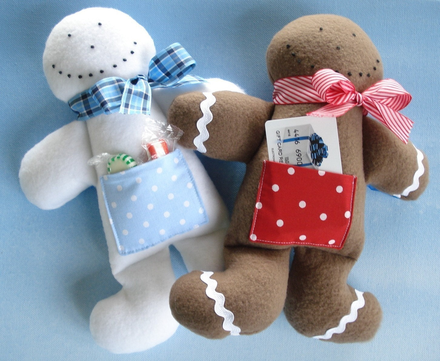 SALE - PDF ePATTERN for Gingerbread Man and Snowman Doll-Gift Holders