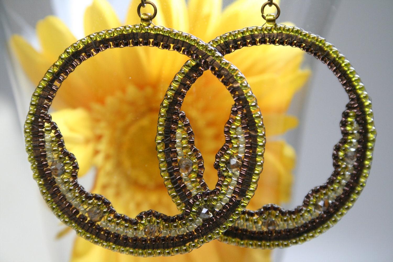 Olive Half Moon Beaded Hoop Earrings
